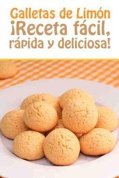 Galletas de Limón  #galletas #limon #videoreceta #facil Cookie Recipes, Dessert Recipes, Desserts, Biscuit Cookies, Brownie Cookies, Cookies And Cream, Sweet Cakes, Sin Gluten, International Recipes