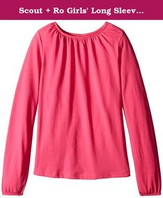 Scout + Ro Girls' Long Sleeve Shirred Neck Knit Top, Lollipop, 8. Long sleeves and a solid tone make this shirt a wardrobe staple.