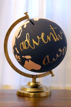 $55 Handpainted globe piggy bank by Jonathan Blake Miceli and Ana Calderone