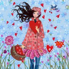 ♥Kaartje2go - Valentijnskaarten - Valentijn Meisje Hart Bloem Illustratie
