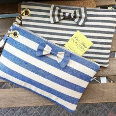 Summer Cotton Clutches with navy stripes