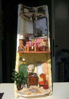 Roof Tiles, Tile Art, Ladder Decor, Diy, Home Decor, Calla Lilies, Rocks, Miniatures, Pintura