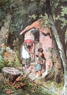 Hänsel und Gretel: This is an illustration of the children's encounter with a witch, from the well-known fairy-tale of German origin that the Brothers Grimm recorded and published in 1812. Artist Credit: Alexander Zick [1845-1907]