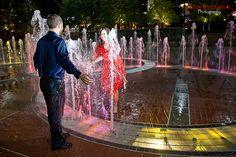 Fun engagement photos at Centennial Olympic Park in Atlanta  #Weddings, #EngagementPhoto Ideas, #Bride