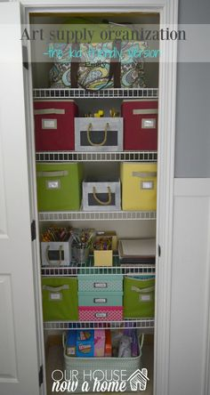 art supply organization. Organizing the art supplies for kids can be difficult. However, finding the right solution can be the life saver to a simple, functional and kid friendly way to organizing craft supplies.