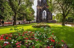 Princes Street gardens, Scott Monument and the Balmoral clock. Beautiful Edinburgh photo.