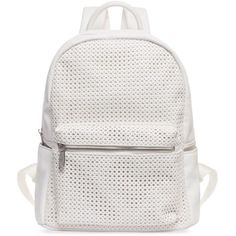 Urban Originals  White Lola Perforate Backpack (130 CAD) ❤ liked on Polyvore featuring bags, backpacks, backpack, white, urban originals, faux leather backpack, zip top bag, vegan leather bags and day pack backpack