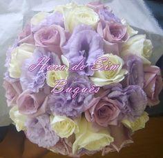 Buquê de noiva em lisianthus e rosa