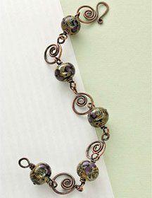 Caramel Swirl Bracelet by Cindy Wimmer. Free wire bracelet jewelry making project from Beading Daily! http://www.beadingdaily.com