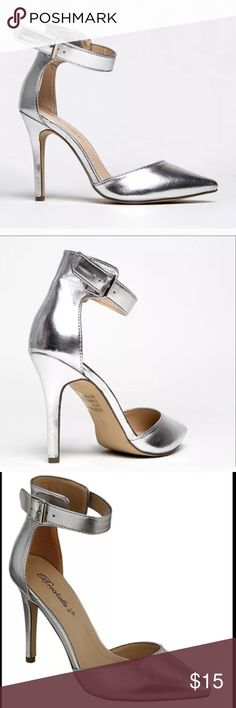 """Breckelle's Silver Heels Never worn outside the house, only selling bc the 4"""" heel is a tad too high for me. Vegan-friendly leather, only """"flaws"""" are the slight wrinkles due to storage. Open to reasonable offers. Breckelles Shoes Heels"""