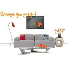 Orange you grey-t modern living room Sofa, Couch, Modern Living, Modern Design, Orange, Living Room, Grey, Polyvore, Furniture