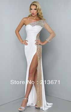 Sexy One Sleeve Slit Front Mermaid Beaded Crystal White Chiffon&Tulle Elegant Long Evening Dresses Prom Dresses