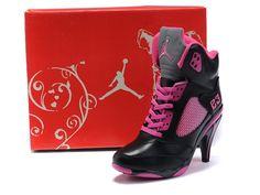1ce1953697b Air Jordan 5 High Heels Shoes Pink Black