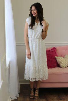 Jazmine White Lace Midi Dress | Piper Street