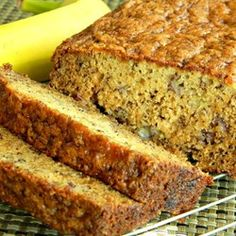 Joy's Easy Banana Bread - I add cinnamon, vanilla, for sugar: 3/4 white, 1/4 brown. optional: thawed frozen cranberries ~1/3 cup