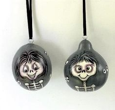 Hand Painted Gourds, Skull Hand, Black Ribbon, Christmas Ornaments, Halloween, Mini, Silver, Color, Etsy