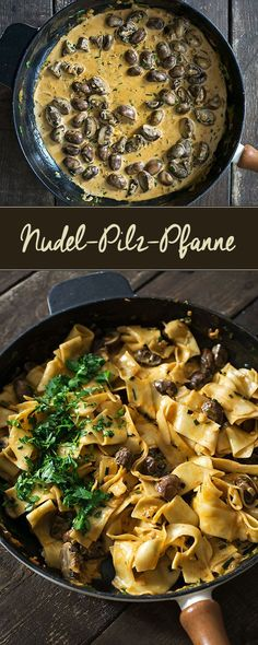 Nudel-Pilz-Pfanne - Madame Cuisine Rezepte mit Pilzen Pasta and mushroom pan Mushroom Recipes, Veggie Recipes, Pasta Recipes, Vegetarian Recipes, Cooking Recipes, Healthy Recipes, Mushroom Pasta, Recipe Pasta, Mushroom Casserole