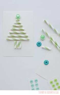 Inspiration: paper straw Christmas tree card or gift tag. Could also make the straws triangle shape into a tiered cake as a wedding or happy birtday wish.
