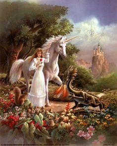 Maiden, Unicorn & Small Dragon