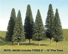 Bachmann SceneScapes 8 to 10 Inch Pine Trees, Pkg. of 3