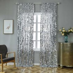 Big Payette Sequin Curtains Silver Pack of 2 Window Treatment Panels With Rod Pockets Sequin Curtains, Silver Curtains, Drapes Curtains, Bedroom Curtains, Blackout Curtains, Window Panels, Window Wall, Design Creation, Living Room Decor
