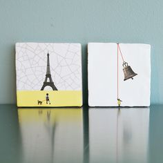 Art on Tiles - Made in Holland - Dutch Design by Marga van Oers. Title: Paris & Bell Ringer.