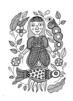 """Covid Self-portrait 1, 7"""" x 10"""", Ink on paper, 2020. Sandeep Johal is a Canadian visual artist whose colourful geometric forms and intricate black and white line work is inspired by her South Asian heritage. Sandeep believes in the power of art to create awareness around issues related to cultural identity, gender equality, and human rights. Her art practice is an expression of her social and cultural concerns, particularly gender justice.  #illustration #blackandwhiteart #lineart Laura Clark, Powerful Art, Cultural Identity, Black And White Lines, Create Awareness, Spring Art, Human Rights, Fine Art Photography, Line Art"""