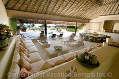 Villa Rental:Oaxaca Oceanfront Villa with Private Beach - Casa Rubia. The unique oceanfront villa Casa Rubia has a private beach and incredible vacation rental extras that ensure the best vacation Villas, Built In Couch, Holidays To Mexico, Luxury Villa Rentals, Holiday Accommodation, Common Area, Luxurious Bedrooms, Rental Apartments, Swimming Pools