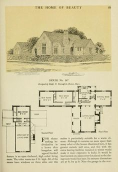 From The Home Of Beauty The American Face Brick Association House No. 147 image of page 59 Ranch House Plans, Craftsman House Plans, Country House Plans, House Floor Plans, Vintage House Plans, Modern House Plans, Small House Plans, Vintage Homes, Historical Architecture
