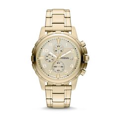 Fossil Men's Men's Gold Tone Chronograph Dean Watch - - No Size Vintage Watches For Men, Luxury Watches For Men, Fossil Watches, Cool Watches, Cheap Watches, Women's Watches, Wrist Watches, Stainless Steel Watch, Stainless Steel Bracelet