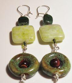 Earrings tigers eye porcelain sead beads by ArtisticJewelrybyPLT, $17.00