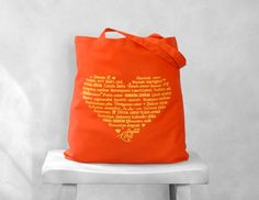 LOVE Languages Tote Bag  Yellow on Tangerine  by BucktoothedBunny, $14.00