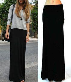 Frete Grátis Hot Sale 2014 New Plus Size Fold Branca Mais de cintura Banded minimalista Jersey Knit Longo Maxi Skirt 15.99
