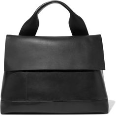 Marni City Pod leather tote ($1,570) ❤ liked on Polyvore featuring bags, handbags, tote bags, black, leather purses, tote handbags, leather handbag tote, marni tote and logo tote bags