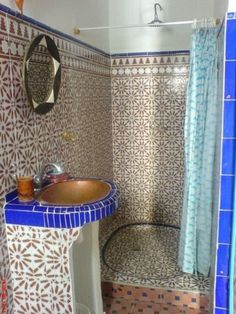 Eastern Luxury: 48 Inspiring Moroccan Bathroom Design Ideas | DigsDigs.  Just a touch of colbalt