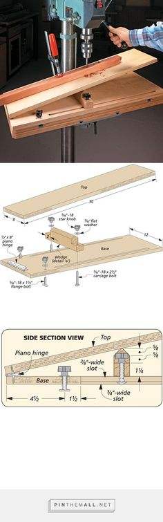 Woodworking is a job, for which one requires to work with precision and skill. Mistakes during woodworking may spoil the whole piece. In woodworking, there are some things, which should be done repeatedly. woodworking jigs are tools, Woodworking Drill Press, Woodworking Workshop, Woodworking Bench, Woodworking Projects, Woodworking Beginner, Woodworking Quotes, Woodworking Classes, Wood Jig, Bookcase Plans