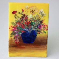 epoxy resin wall art with press flowers