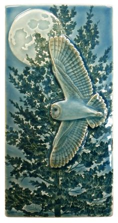 "Owls, Barn owl, ""Flying Barn"" ceramic tile, wall art, 4 x 8 inch sculpted wall art. - Hobbies paining body for kids and adult Craftsman Tile, Modern Craftsman, Craftsman Kitchen, Art Nouveau Tiles, Barn Art, Arts And Crafts House, Handmade Tiles, Handmade Ceramic, Handmade Art"