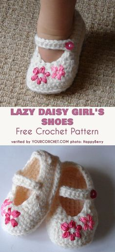Lazy Daisy Girl's Slippers Crochet Free Pattern - Baby Slippers Free Pattern Crochet Baby Booties Slippers Free Patterns: Crochet Baby Booties Slippers for Spring and Crib Walkers, Easy Quick Crochet Gifts for Baby girl and boy Baby Booties Free Pattern, Baby Shoes Pattern, Shoe Pattern, Baby Patterns, Crochet Patterns, Crochet Shoes Pattern, Crochet Ideas, Crochet Projects, Knitting Patterns