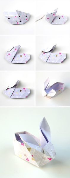 Looking for a cute origami bunny? Learn how to make these Easter Origami Bunny Baskets. These cute paper bunnies make the perfect table setting. Fill with chocolate eggs and scatter across the table for a sweet treat for your guests. Origami Simple, Cute Origami, How To Make Origami, Useful Origami, Oragami, Origami Ideas, Bunny Origami, Origami Swan, Origami Design