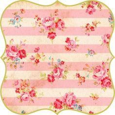 Free printable large image of shabby chic floral stripe tags.
