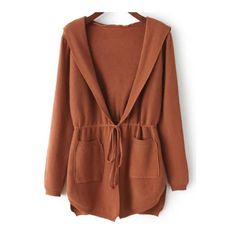 SheIn(sheinside) Khaki Hooded Long Sleeve Pockets Cardigan (€23) ❤ liked on Polyvore featuring tops, cardigans, khaki, loose fitting tops, long sleeve cardigan, embellished long sleeve tops, pocket cardigan and embellished tops