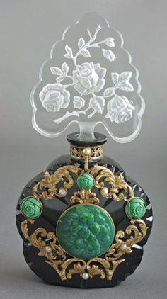 Czech Jeweled Opaque Art Deco perfume Bottle, 1930's