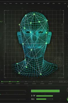 Concept of face scanning, radar screen searching. Futuristic biometric identification or recognition system of person. Face ID. Ui Elements, Design Elements, Barcode Logo, Face Id, Facial Recognition, Health App, Machine Learning, Creative Inspiration, Futuristic