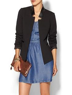 Tinley Road Ada Leather Trim Blazer | Piperlime. Angular as all hell. $90. Also in gray with contrasting black trim.