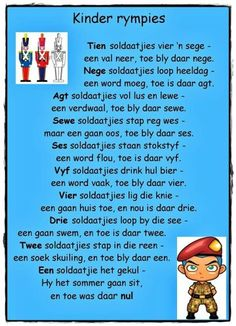Tel rym Rhyming Activities, Rhymes Songs, Kids Poems, Rhymes For Kids, School Posters, Math Concepts, Home Schooling, Afrikaans, Nursery Rhymes