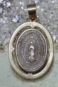 Vintage Mexican Silver 10K Yellow Gold Our Lady of Guadalupe Pendant | eBay