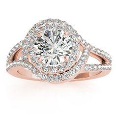 Split Shank Double Halo Diamond Engagement Ring 14k Rose Gold (0.80ct) - Allurez.com