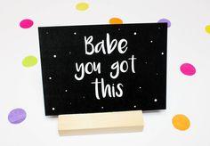 Motiverende kaart, positieve kaart, compliment kaart, succes kaart, babe you got this, quote kaart door JolisMots op Etsy