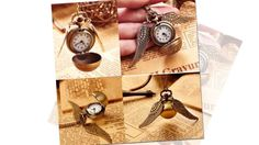 HARRY POTTER SNITCH POCKET WATCH PENDANT NECKLACE WING CLOCK  Specification:  100% brand new Ball diameter: approx 25mm Wing length: approx 45mm Chain length: approx 80cm Quartz movement for accurate time keeping. Material: stainless steel + metal Color: as picture shows Package included:  1pc x Pocket Watch Note: